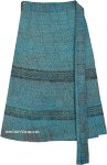 Indian Batik Short Wrapper In Fountain Blue with Elephant Print