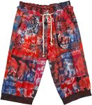 Funky Elephant Print Red Splash Long Shorts