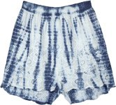 Blue Hues Thread Flowers Airy Boho Shorts