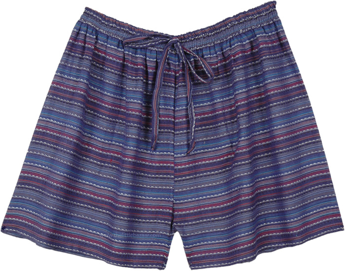 Blue Striped Hippie Sleepwear Dorm Cotton Shorts