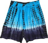 Blue Tie and Dye Boho Summer Junior Shorts
