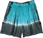 Turquoise Tie and Dye Boho Summer Junior Shorts