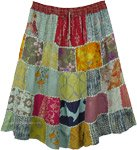 Recycled Patchwork Short Bohemian Skirt