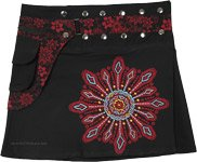 Black Snap Wrap Short Skirt with Red Floral Fanny Pack