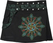 Black and Green A-Line Snap Wrap Short Skirt