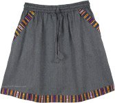 Steel Grey Cotton Short Skirt with Pocket and Woven Hem