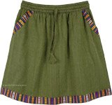 Moss Green Short Skirt in Woven Fabric