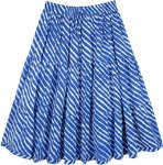 XXS To Small Cobalt Blue Tiered Cotton Short Skirt