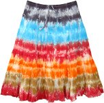 Raining Colors Tie Dye Tiered Cotton Short Skirt