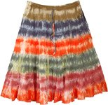 Dark Tribal Colors Tie Dye Short Cotton Skirt