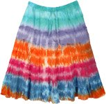 Beach Colors Tie Dye Cotton Short Skirt