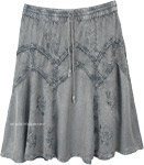 Ash Gray Medieval Styled Rayon Knee Length Skirt
