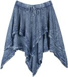 Hanky Hem Twin Layered Stonewashed Blue Skirt