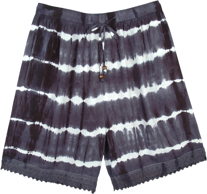 Black and White Tie Dye Long Shorts with Pockets