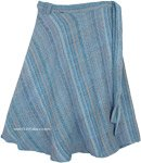 Soothing Blue Heavy Burlap Cotton Wrap Around Skirt