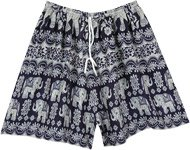 Elephant Print Beach Shorts with Elastic Waist