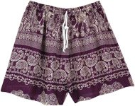 Purple and White Printed Shorts with Drawstring
