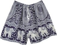Navy Blue Drawstring Elephant Shorts