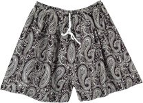 Monochromatic Paisley Printed Summer Shorts