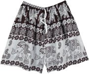 Ethnic Elephant Shorts with Drawstring