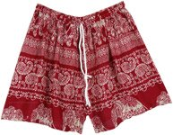 Thai Elephant Red and White Rayon Beach Shorts