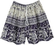Navy Blue and White Elephant Beach Shorts