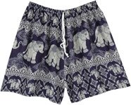 Blue Elephant Printed Thai Beach Shorts