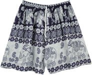 Small Medium Elephant Print Beach Shorts