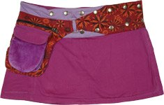 Eggplant Purple Mini Skirt with Floral Fanny Pack Waist