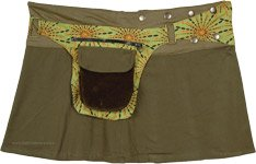 Olive Green Mini Skirt Snap Wrap Around with Velvet Pocket