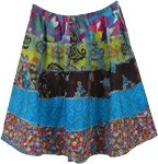 Colorful Prints Summer Revivalist Blue Short Skirt