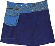 Wool Button Wrap Mini Skirt in Blue Fanny Pack