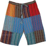Multicolored Striped Patchwork Cotton Long Unisex Shorts