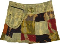 Olive Toned Snap Wrap Tie Dye Patchwork Mini Skirt