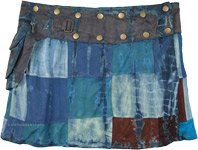 Atlantis Blue Button Wrap Patchwork Mini Skirt