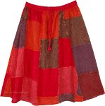Red Rocks Vintage Patchwork Short Cotton Skirt