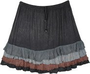 Black Short Skirt with Frilled Hem and Elastic Waist