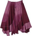 Wrinkled Rayon Midi Skirt in Purple Hues