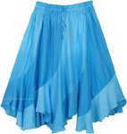 Fantasy Blue Spiral Cut Beach Festival Midi Skirt