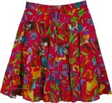 Crimson Red Hip Hop Short Flared Skirt with Floral Tiers