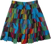 Hippie Short Skirt in Blue with Patchwork Tiers