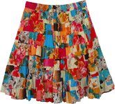 Mykonos Blue and Rosy Pink Vacation Short Skirt