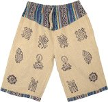 Cotton Washed Calico Beige Long Shorts with Block Print
