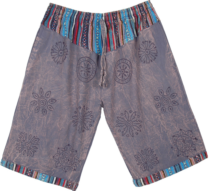 Gray Shorts with Gypsy Long Shorts With Block Print