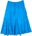 Persian Blue Pull Up Tiered Short Skirt in Cotton