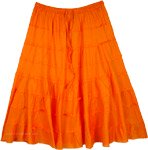 Orange Poppy Elastic Waist Tiered Short Skirt