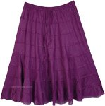Solid Purple Cotton Tiered Summer Short Skirt