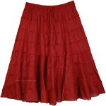 Burgundy Cotton Short Skirt with Tiers