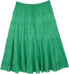 Spring Green Pull Up Tiered Short Skirt