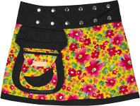 Yellow Blooms Reversible Wrap Short Skirt with Buttons